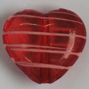 Large, red with pink stripes, heart shaped bead.