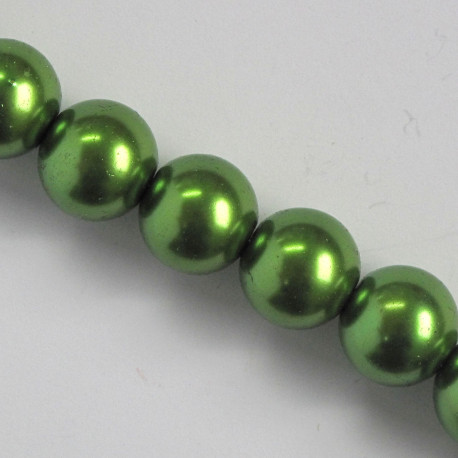 PL1413 - 14 mm Bright Green Glass Pearls.