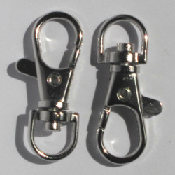 Large bag clip with swivel loop, silver coloured.Pk of 3