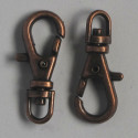 Small bag clip with swivel loop, antique copper coloured.