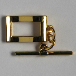 Stylish, rectangular, wavy toggle, gold coloured.