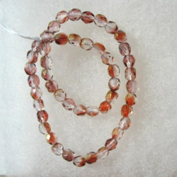 4mm Czech glass fire polished beads dusky rose pink with golden glints. String of 50