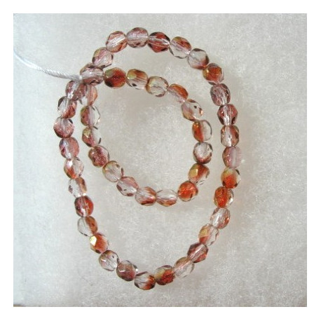 FP4610 - 4mm Czech glass fire polished beads dusky rose pink with golden glints. String of 50