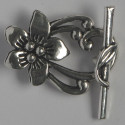 Fancy floral toggle clasp. Pack of 4. Silver coloured.