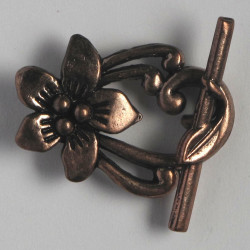 Fancy floral toggle clasp. Pack of 4. Copper coloured.