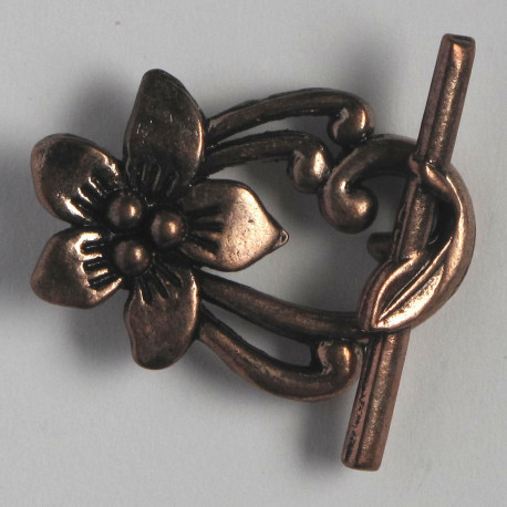 F4064c - Fancy Floral Toggle Clasp. Pack of 4. Copper Coloured.