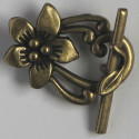 Fancy floral toggle clasp, antique brass coloured.