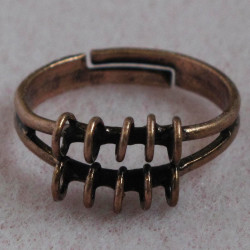 Adjustable bling ring, antique copper colour, pack of 1.