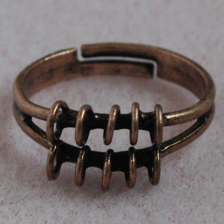 """F5026c - Adjustable """"Bling Ring"""", Antique Copper Colour, Pack of 1."""