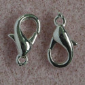 12 mm lobster clasp, silver colour, pack of 10.