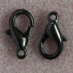 12 mm lobster clasp, black colour, pack of 10.