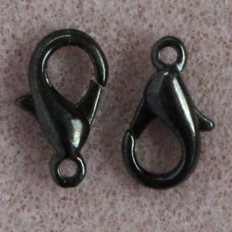 F4152b - 12 mm Lobster Clasp, Black Colour, Pack of 10.