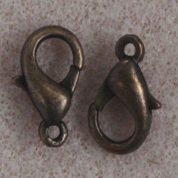 12 mm lobster clasp, antique copper colour, pack of 10.