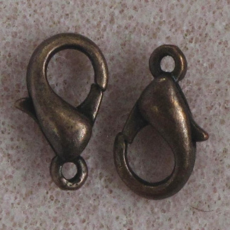F4152c - 12 mm Lobster Clasp, Antique Copper Colour, Pack of 10.