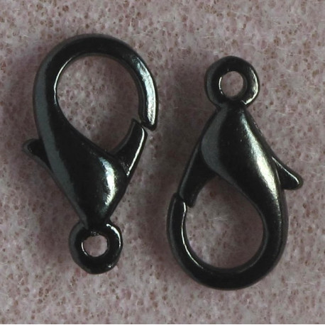 F4153b - 14 mm Lobster Clasp, Black Colour, Pack of 10.