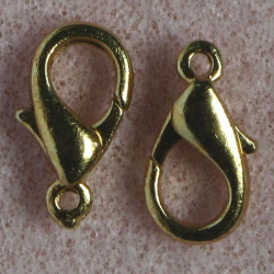 14 mm lobster clasp, gold colour, pack of 10.