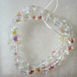 FP6109 - 6mm Czech fire polished glass beads crystal clear AB. Sold per string of 50