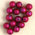 Soft touch acrylic beads, 10mm, fuchsia, pack of 15.