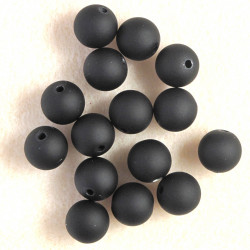 Soft touch acrylic beads, 10mm, black, pack of 15.
