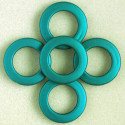 Large, open, soft touch acrylic bead, 34mm, teal, pack of 5.