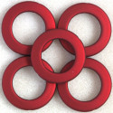 Large, open, soft touch acrylic bead, 34mm, red, pack of 5.