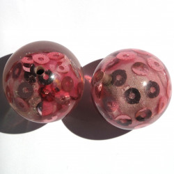 Large, pretty resin beads with sequins, pink, pack of 2.
