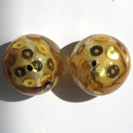 PB4002 - Large, Pretty Resin Beads with Sequins, Gold, Pack of 2.