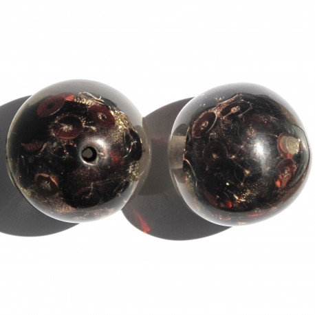 PB4003 - Large, Pretty Resin Beads with Sequins, Brown, Pack of 2.