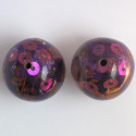 Large, pretty resin beads with sequins, purple, pack of 2.