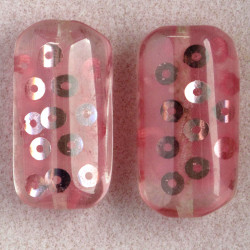 Large, rectangular resin bead with sequins, pink, pack of 2.