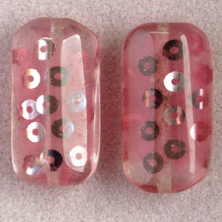 PB4101 - Large, Rectangular Resin Bead with Sequins, Pink, Pack of 2.