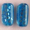 PB4102 - Large, Rectangular Resin Bead with Sequins, Blue, Pack of 2.