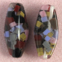 Large tubular, multicoloured resin bead, pack of 2.
