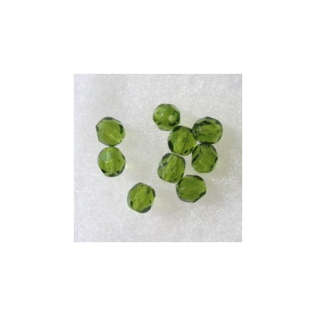 FP6480 - 6mm Czech Fire Polished Olive Green Glass Beads, Pack of 25.