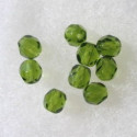 6mm Czech fire polished olive green glass beads, pack of 25.