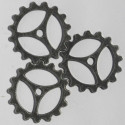 Antique silver coloured 3 spoke cog wheel, pack of 8.