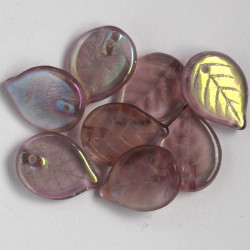 Czech glass leaf, lilac coloured with AB coating, pack of 10.