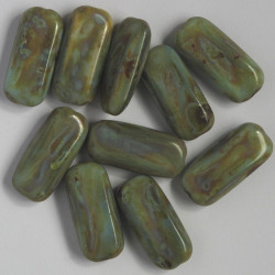 Czech glass, rectangular bead,green-brown with a Picasso finish, pack of 10.