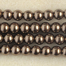 8mm glass pearls, coffee coloured.