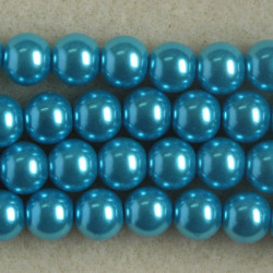 PL0865 - 8mm Glass Pearls, Turquoise Coloured.