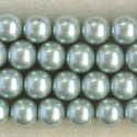 12mm glass pearls, soft moss green coloured.