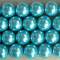 14mm glass pearls, turquoise coloured.