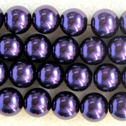 12mm glass pearls, purple coloured.