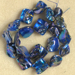 SHL1070 - Shell Nuggett Beads, Pearlescent Blue Coated Embossed with a Gold Coloured Design.