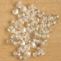 4mm crystal bi-cone, clear, pack of 50.