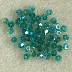 3mm crystal bi-cones, green AB.