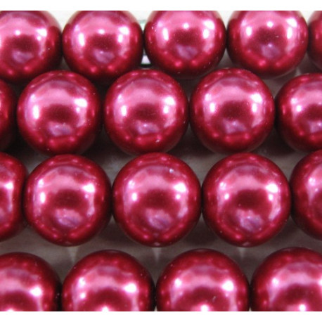 PL1251 - 12mm red glass pearls. Per stand