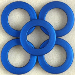 ST2007 - Large, Open, Soft Touch Acrylic Bead, 34mm, Electric Blue, Pack of 5.