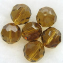 14mm light brown fire polished glass bead