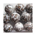 Round animal print acrylic bead. P
